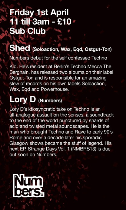 Fri 1 Apr 2011: Numbers present SHED & LORY D