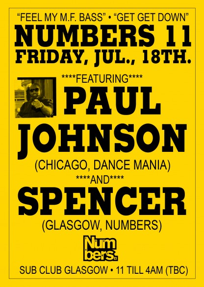 Numbers: Paul Johnson & Spencer @ Sub Club, Glasgow