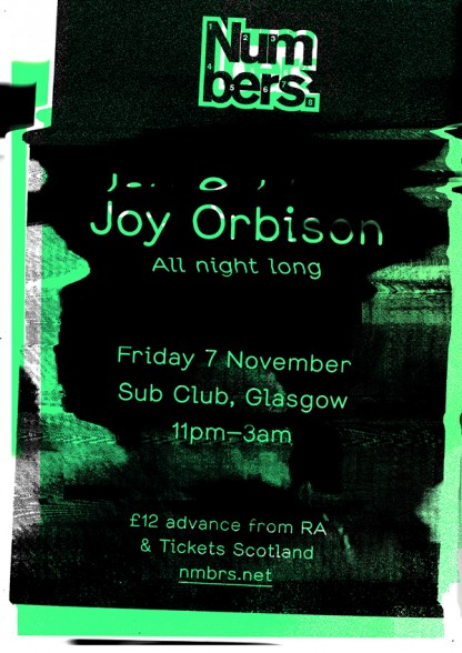 Numbers Joy Orbison Glasgow Sub Club 2014